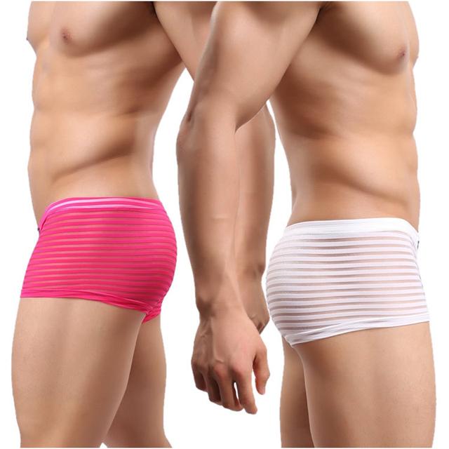 Los hombres ven a través de ropa interior bragas masculinas bragas de la raya de moda masculina sexy transparente hombres ropa interior boxer hombre