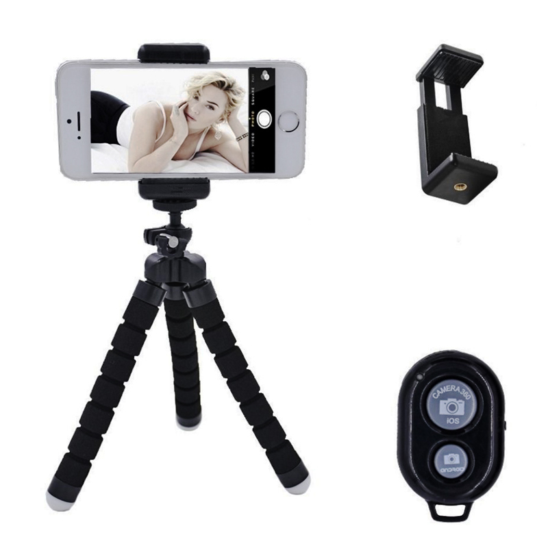 Universal Flexible Sponge Tripod Universal Mobile Phone Bluetooth Selfie Camera Kit Live Stand Tripod Sports camera Holder Stand