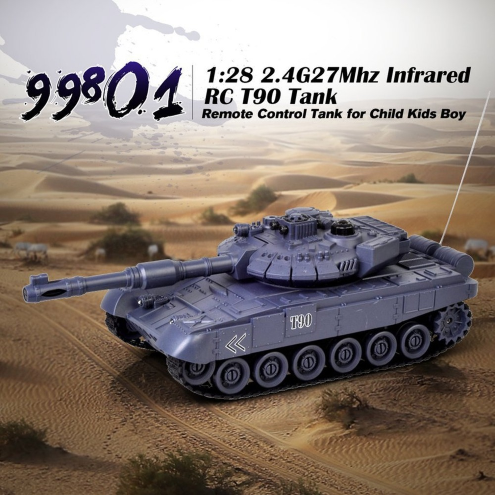 MINI 1:28 RC Tank 27Mhz Infrared Musical Flashing Russian T90 RC Tank Remote Control Tank Remote Toys For Children Kids Boy Gift