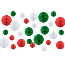 27pcs Christmas Colors Red/Green/White 8cm/15cm/20cm Tissue Paper Honeycomb Balls Lanterns Decor Crafts Gift