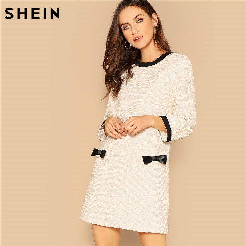 18e1c67137001 SHEIN Bow Detail Tweed Tunic Dress Round Neck Long Sleeve Women Autumn  Modern Lady Going Out