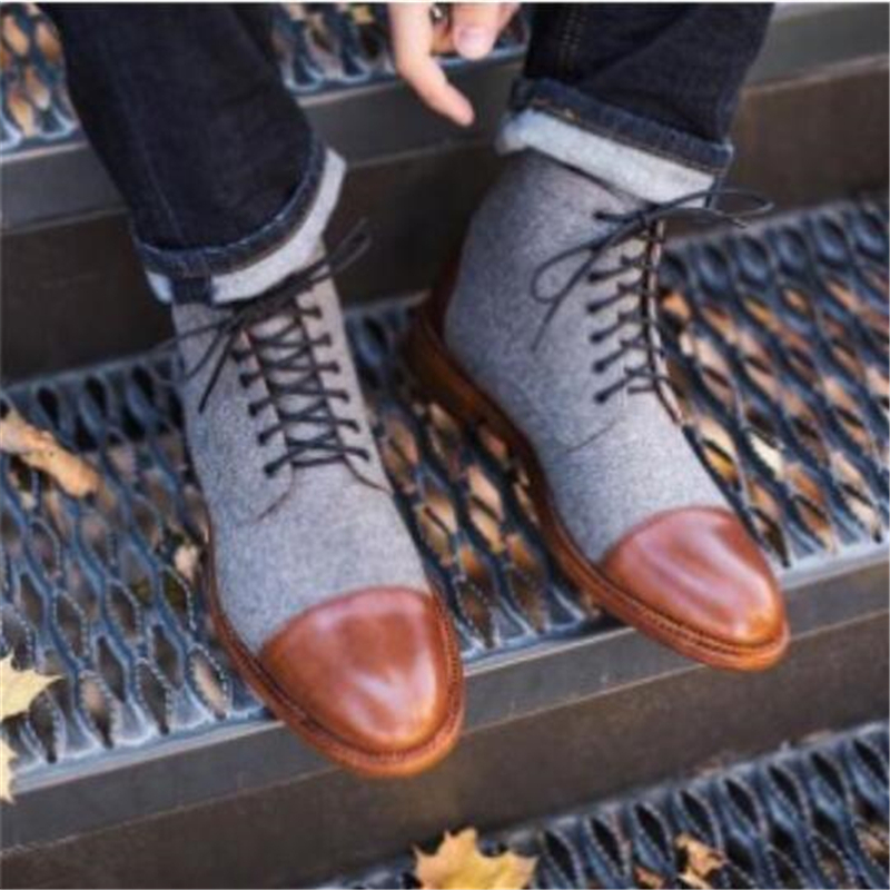 NEW FASHION LUXURY DESIGN GENUINE LEATHER MEN ANKLE BOOTS HIGH GRADE TOP LACE UP MEN DRESS SHOES BLACK BROWN BASIC BOOTS MEN 48
