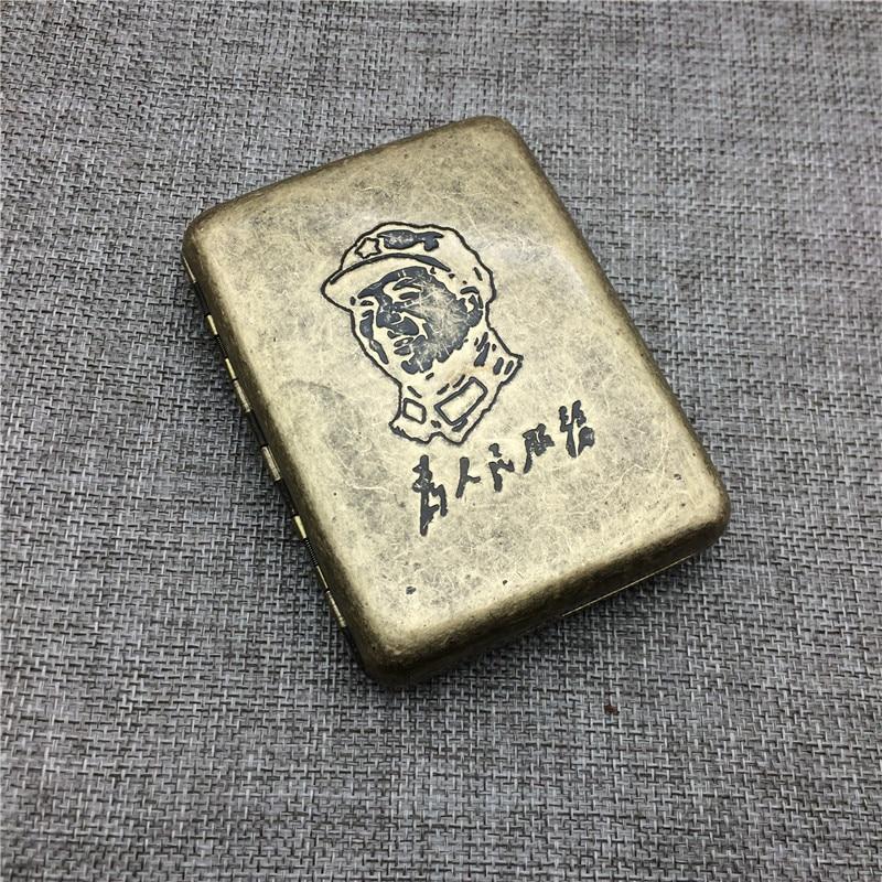 Chairman Mao Che Guevara US Marine Corps Classic Style Cigarette Case Bronze Material Cigarette Case Box Smoking Accessory in Storage Boxes Bins from Home Garden