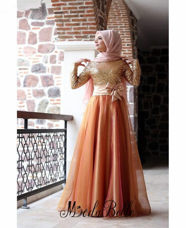 Long Sleeve font b Hijab b font Muslim Evening Dresses 2016 Vestido Elegante Sequin Evening Long