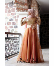 Long Sleeve Hijab Muslim Evening Dresses 2016 Vestido Elegante Sequin Evening Long Dresses Dubai Arabic Kaftan Dresses With Bow