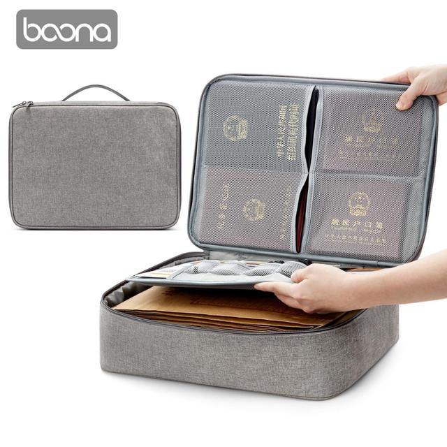 Boona Oxford Waterproof Document Bag Organizer Papers Storage Pouch Credential Bag Diploma Storage File Pocket with Separator