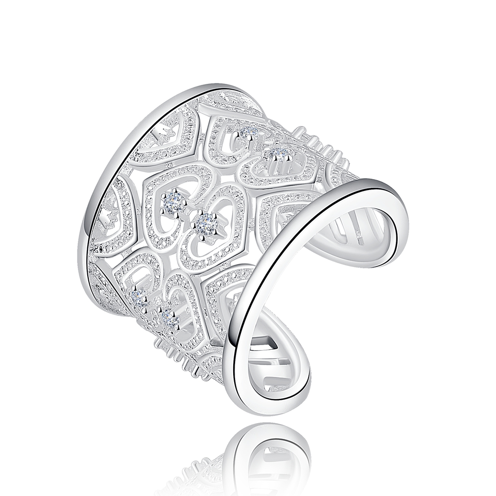 factory wholesale new silver plated women hot nice gift round open hollow crystal Rings jewelry R106