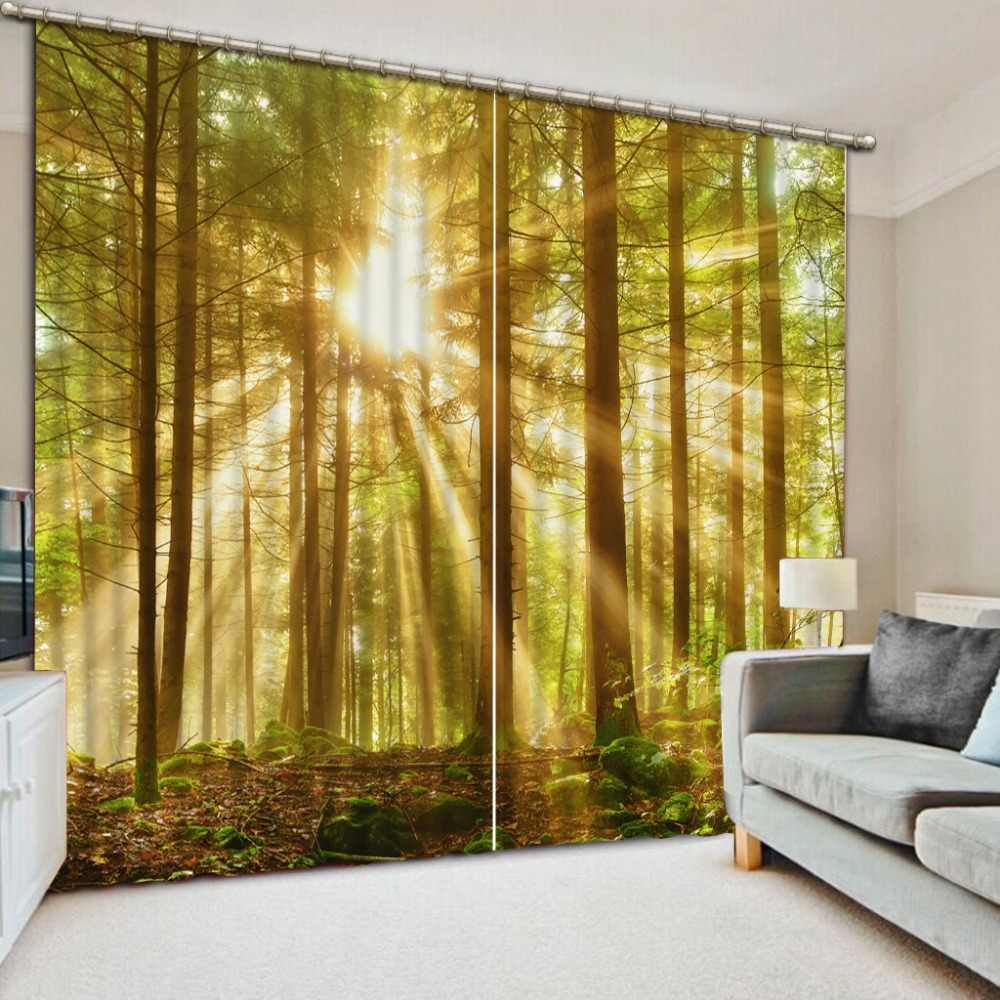 3D Curtains Drapes For Bed blackout curtains for bedroom forest sunlight beautiful living room curtains window curtains style