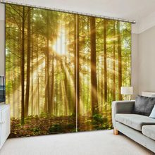 3D Curtains Drapes For Bed blackout curtains for bedroom forest sunlight beautiful living room curtains window curtains style(China)