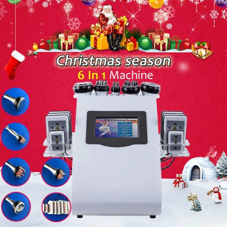6 In 1 Ultrasonic Cavitation Vacuum RF Lipo Slimming Machine For Spa CE