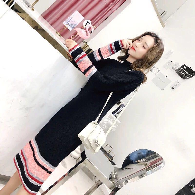 Tricot La Nouvelles Longues Genou De Rayé À Automne hiver Temperamen Manches Sur gris Le Noir Robe 2018 Femmes Ceinture exclusion rwIaArq