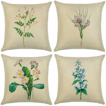 Linen Pillow Cover Floral Decorative Cushion Throw Pillowcase Sofa Car 45*45cm Case Home Decoration