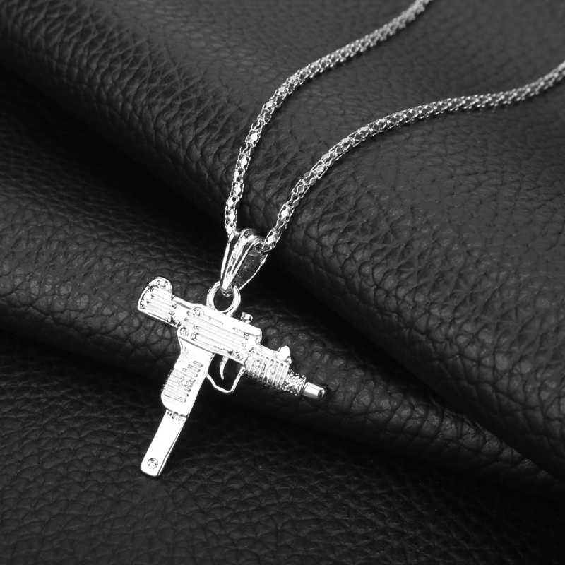Submachine Uzi Pistool Model Ketting Mannen Hip Hop Sieraden Metalen Charm Link Chain Hanger Ketting Leger Stijl Mannelijke Accessoires