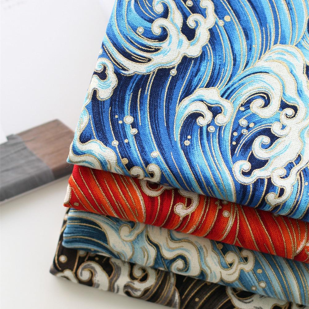 نسيج القطن والكتان DIY لجدول القماش / وسادة تغطي اليابان Ukiyoe المحيط موجة يطبع جميلة برونزي الملابس / حقيبة النسيج
