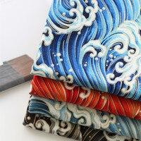 22 28cm Cotton Linen DIY Fabric For Table Cloth Door Curtains Japan Ukiyoe Blue Ocean Wave