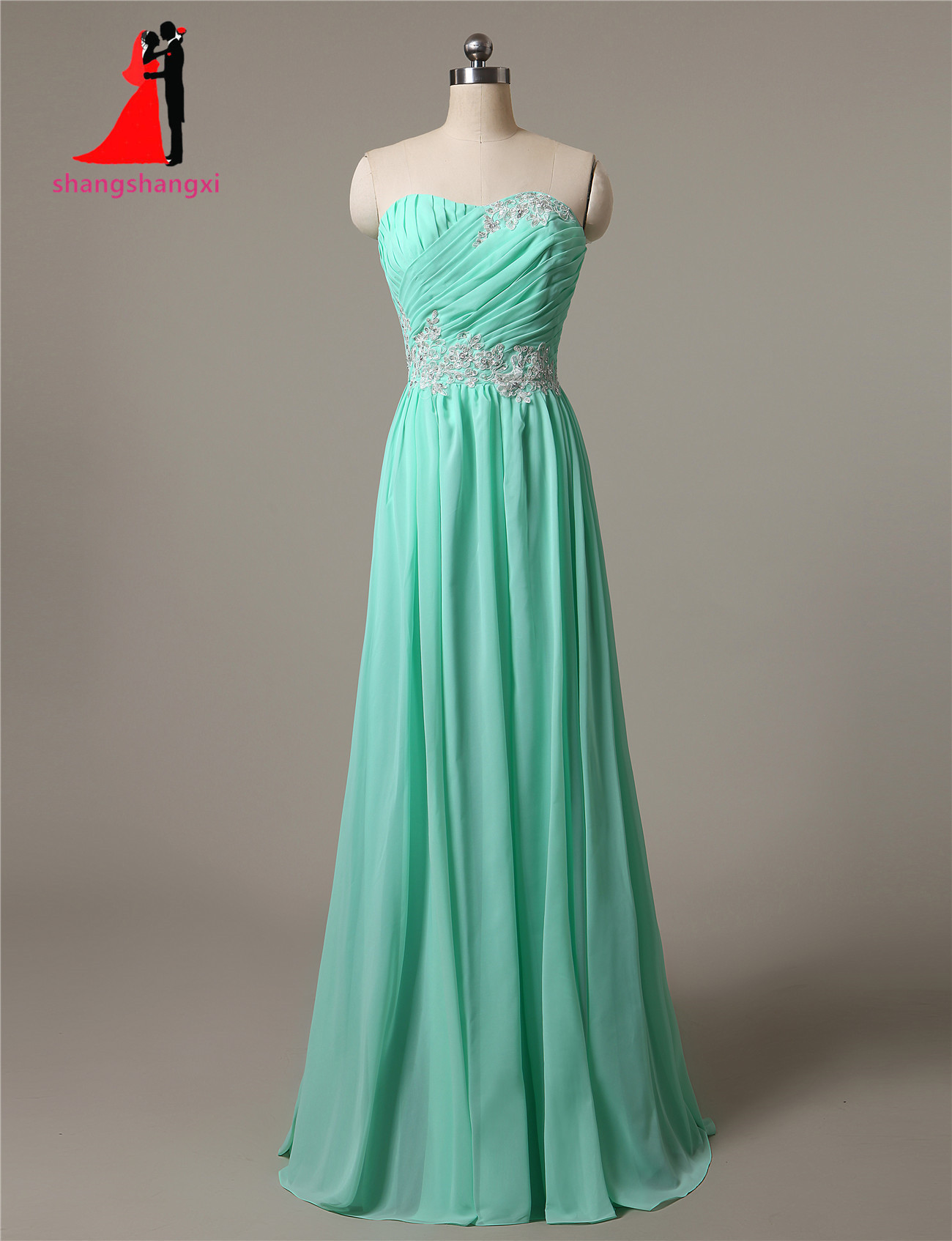 New Strapless Mint Long Chiffon Bridesmaid Dresses 2017 Plus Size ...