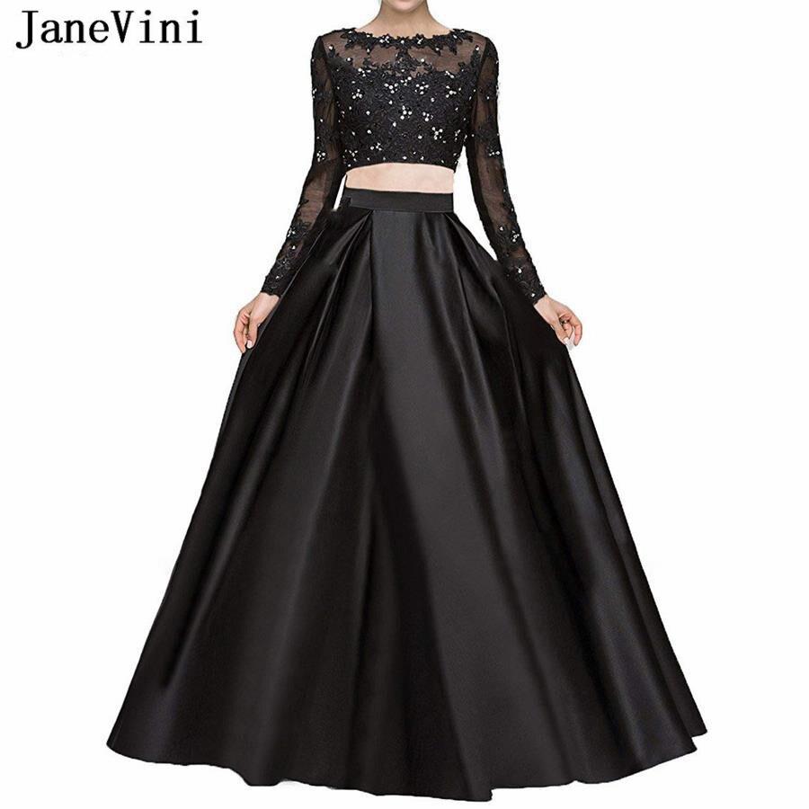 JaneVini Elegant   Prom     Dress   Black A Line Long Sleeves Appliques Beaded Satin Plus Size Two Piece Gown Vestidos Cerimonia Longos