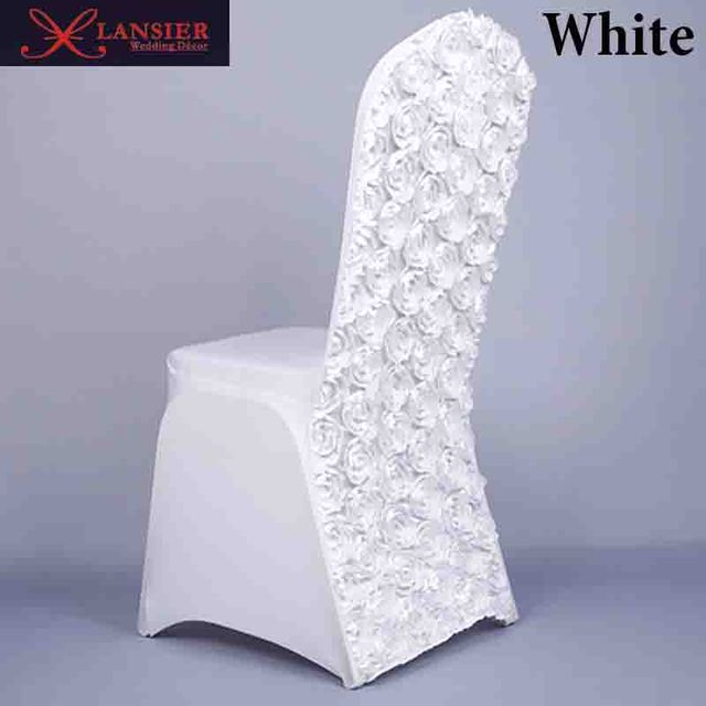 3d rose flower pure color white wedding chair covers spandex lycra 3d rose flower pure color white wedding chair covers spandex lycra wedding decoration supplies spandex chair junglespirit Image collections