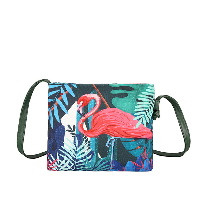 Fashion Women Messenger Bags Cute Animal Printing Green Canvas Shoulder Bag For Female 2017 New Arrive