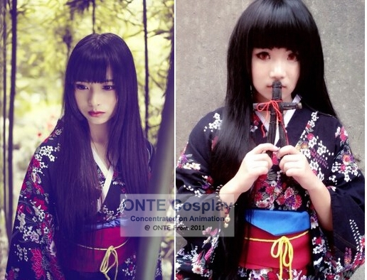 [Custom Made] ONTE Fashion Anime Hell Girl Cosplay Costume Enma Ai Kimono Women Clothes for Halloween Party (Summer / Autumn)