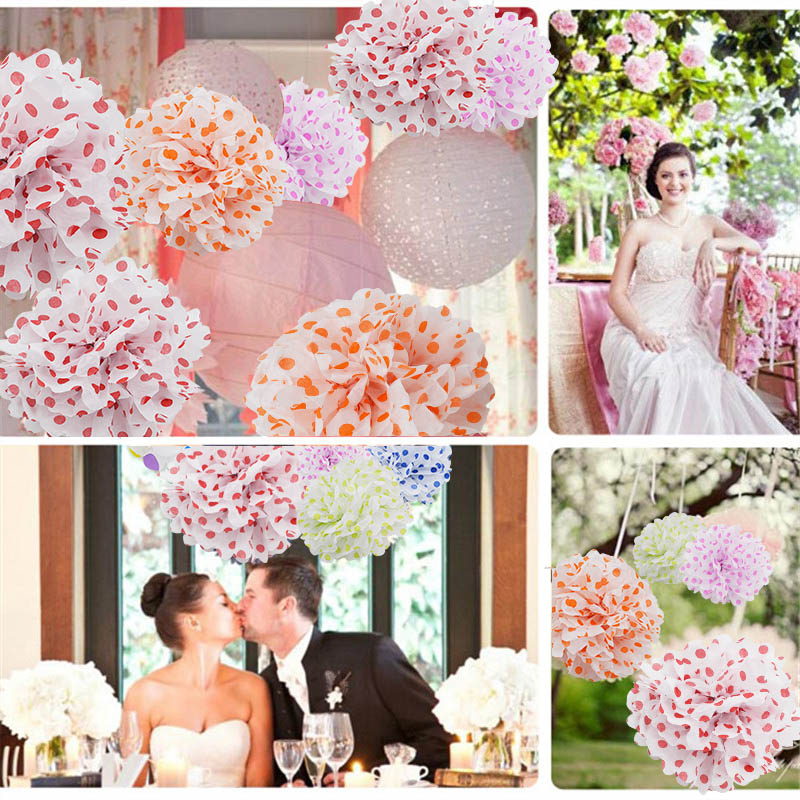 5pcs /lot Diy Multi Colour Paper Flowers Ball Wedding Home Birthday Party Car Decoration Tissue Paper Pom Poms