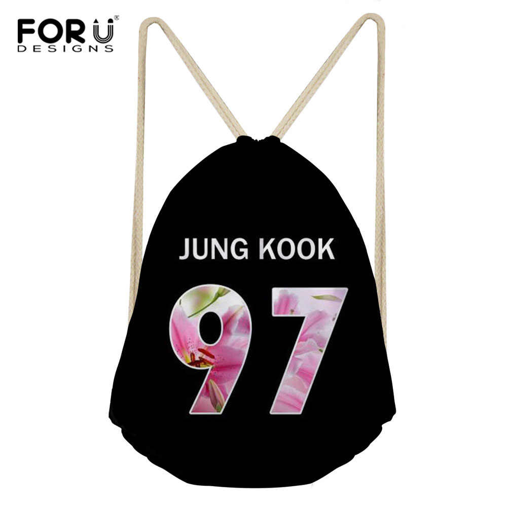 Detail Feedback Questions about FORUDESIGNS BTS Drawstring Bag Custom Women  Bangtan Boys Printing Cute Drawstring Backpack Shopping String Bag Feminina  ...