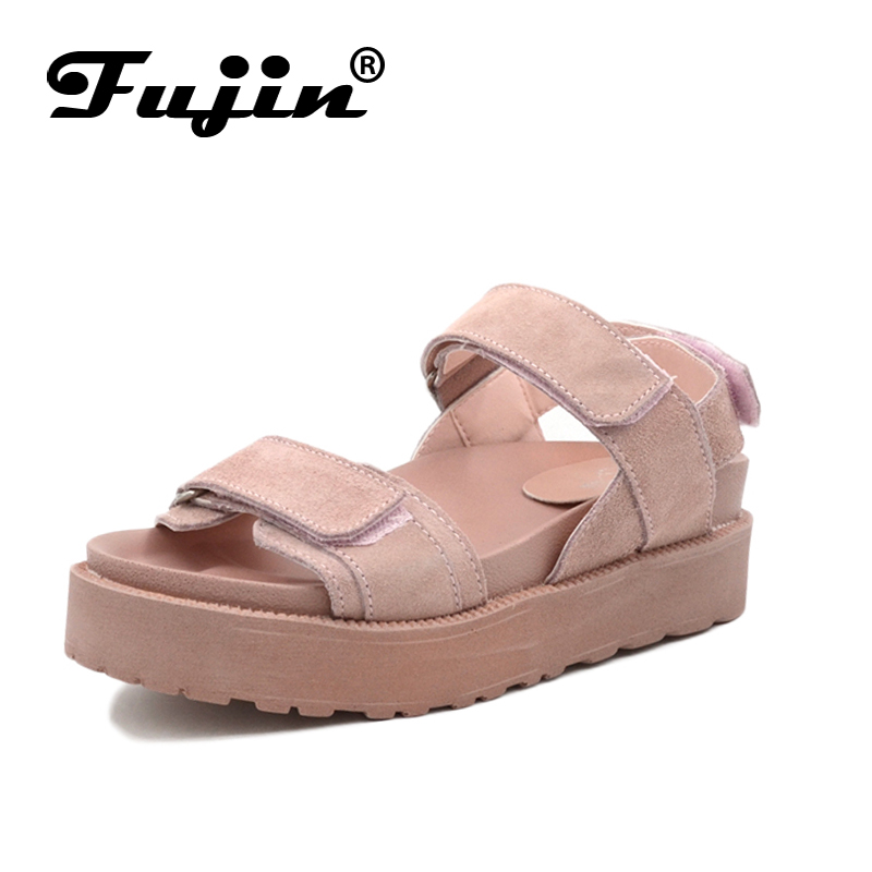 Fujin Brand 2018 Summer Genuine Leather Flat Sandals Shoes for Women Platform Sandals with High Heel Lady Leather Shoes Footwear fujin brand 2018 summer shoes for women platform sandals with high heel lady leather shoes footwear pink leather slip on sandals