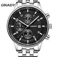 GRADY New Fashion Black Big Dial Men Designer Quartz Watch Male Wrist Watch Relogio Masculino Relojes