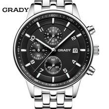GRADY Nouvelle Mode noir grand cadran Hommes Designer Quartz Montre Homme montre-bracelet relogio masculino relojes