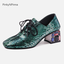 Luxury high end women sheepskin pumps python pattern bling laser color rhinestone chunky heels mules fashion party dress shoes aidocrystal custom color rhinestone shoes evening party crystal platforms pumps fashion women dress high heels