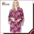 CR008 Algodão Floral Robe Floral Mulheres Nupcial Do Casamento da Flor de Cetim de Seda Kimono Robe Spa Senhora Noite Vestido Frete Grátis