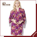 CR008 Cotton Floral Robe Floral Women Wedding Bridal Kimono Robe Flower Satin Silk Lady Spa Night Dress Free Shipping