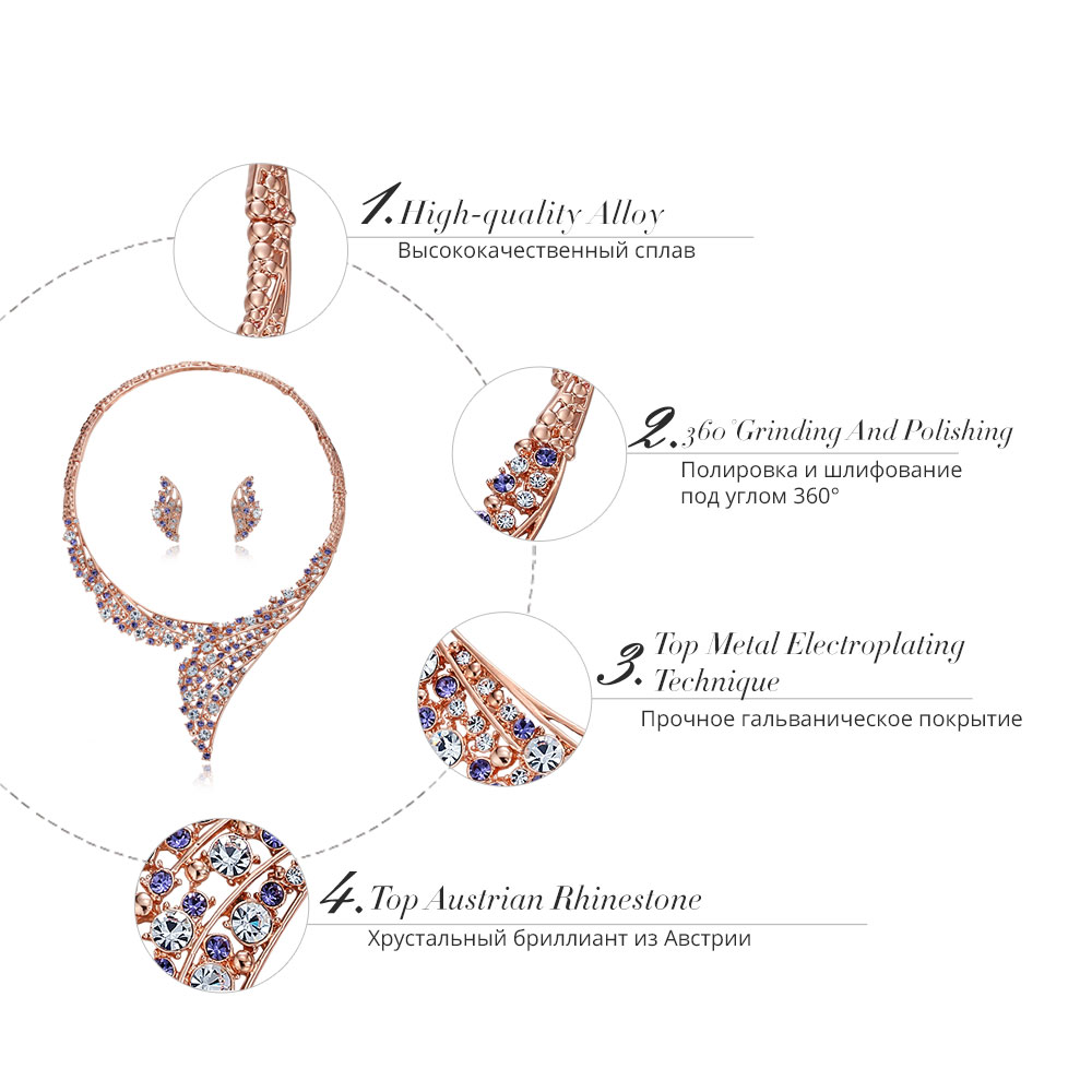 Image 3 - Viennois Luxury Rose Gold Color women Wedding Party Jewelry Set Rhinestone Paved Choker Stud Earrings Set Bridal Jewelry-in Jewelry Sets from Jewelry & Accessories