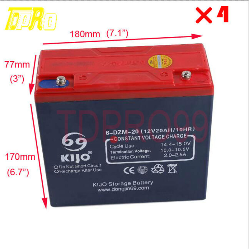 4x 12v 20ah sealed lead acid rechargeable battery 6 dzm 20. Black Bedroom Furniture Sets. Home Design Ideas