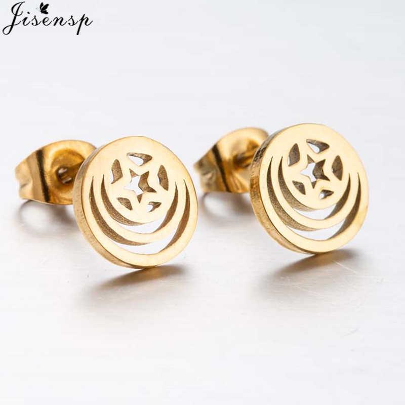 Jisensp ใหม่ Vintage Gold Star Shaped ต่างหูผู้หญิงเครื่องประดับสแตนเลสสไตล์เกาหลีรอบต่างหู bijoux femme