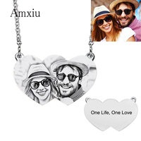 Amxiu Customize 925 Sterling Silver Necklace Personalized Photo Necklace Engrave Words Picture Heart Choker Necklace For Lovers