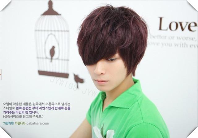 Korean Make Wig Prompt Deilvier Synthetic Boy Short Bob Wig Male