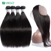360 Lace Frontal Closure with Bundles Peruvian Straight Hair Human Hair Bundles with Closure Virgo Remy 360 Frontal with Cap