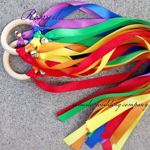 100pcs/lot Rainbow Color Stain ribbon Waldorf Ribbon With Bell Hand Kite Toy Birthyday Party Favors