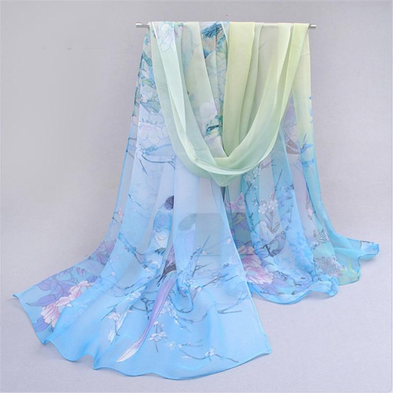 Spring Autumn Fashion Chiffon Scarf 160*50cm Birds Flowers Print Scarves Shawl For Women Ladies Pashmina 24 Colors