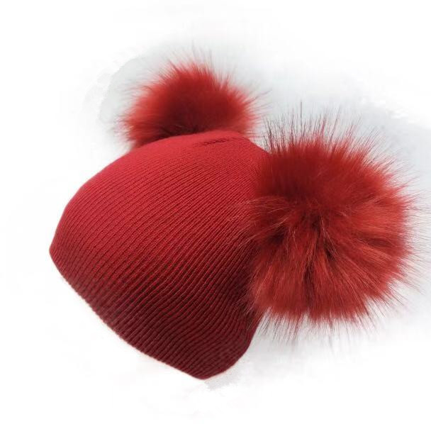 Winter Hat for Babies with Double Faux Fur Pom Pom