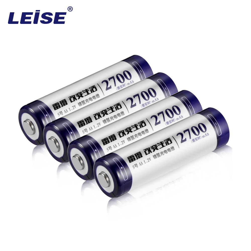 Leise 4pcs/lot 1.2V 2700mAh NI MH AA Pre-Charged Rechargeable Batteries Ni-MH Rechargeable aa Battery For Toys Camera Microphone