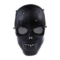 Череп Скелет страйкбол пейнтбол BB пистолет полная защита лица маска выстрел шлемы Пена мягкий внутри черный глаз щит полное покрытие