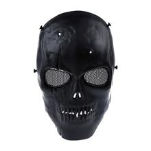 גולגולת שלד איירסופט פיינטבול BB Gun Full Face הגן על מסכת Shot קסדות קצף מרופד בתוך שחור עין מגן מלא כיסוי