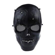 Schedel Skelet Airsoft Paintball Bb Gun Full Face Mask Bescherm Shot Helmen Schuim Gevoerde Binnenkant Zwart Eye Shield Volledige Cover