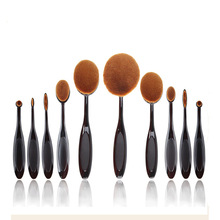 10Pcs black oval brush set professional makeup brush set toothbrush shape nylon handle makeup brush kit include powder brush