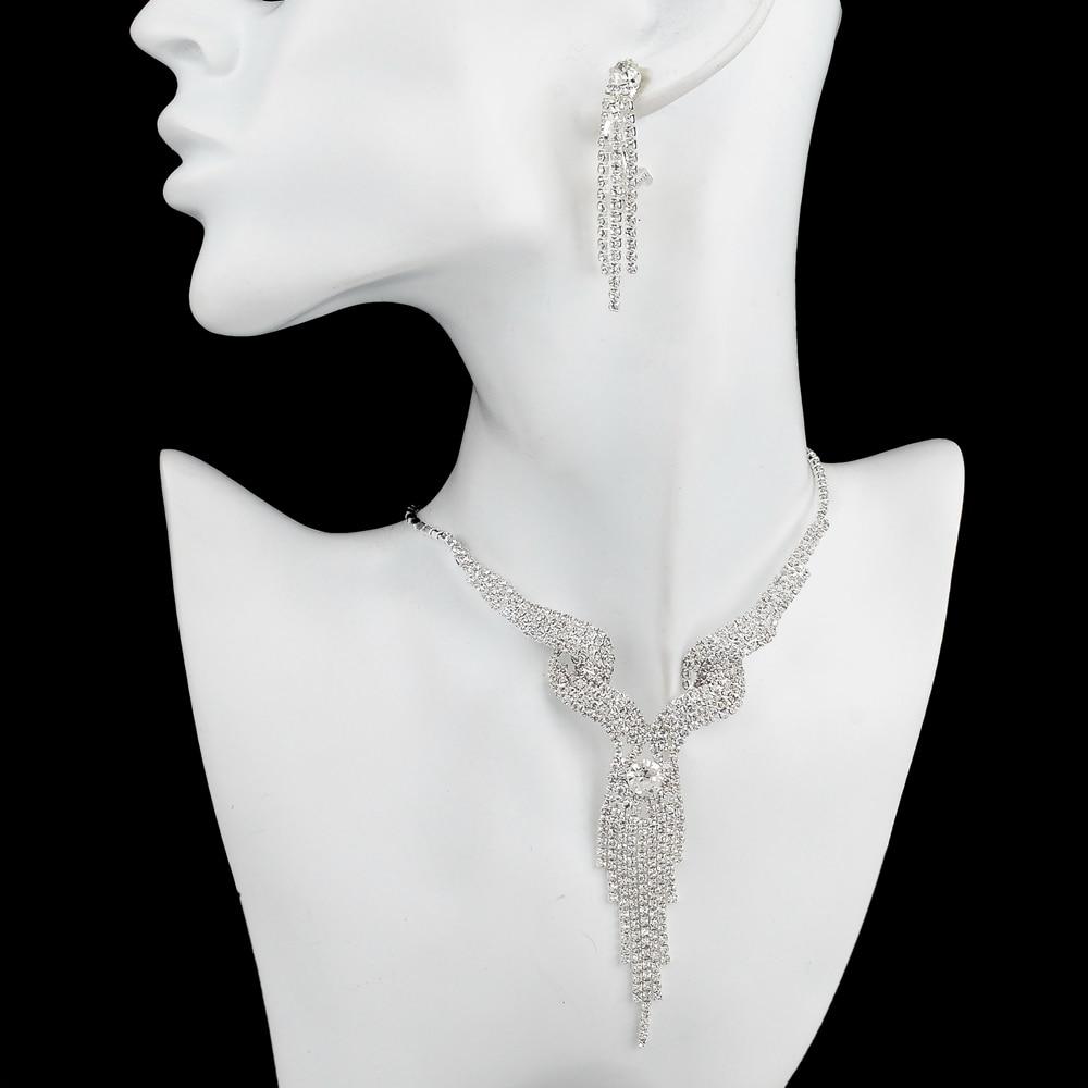TOUCHEART Wedding Jewellery Set Crystal Bridal Jewelry Sets For Women Long Tassel Statement Necklace/Earrings Set SET150011 2