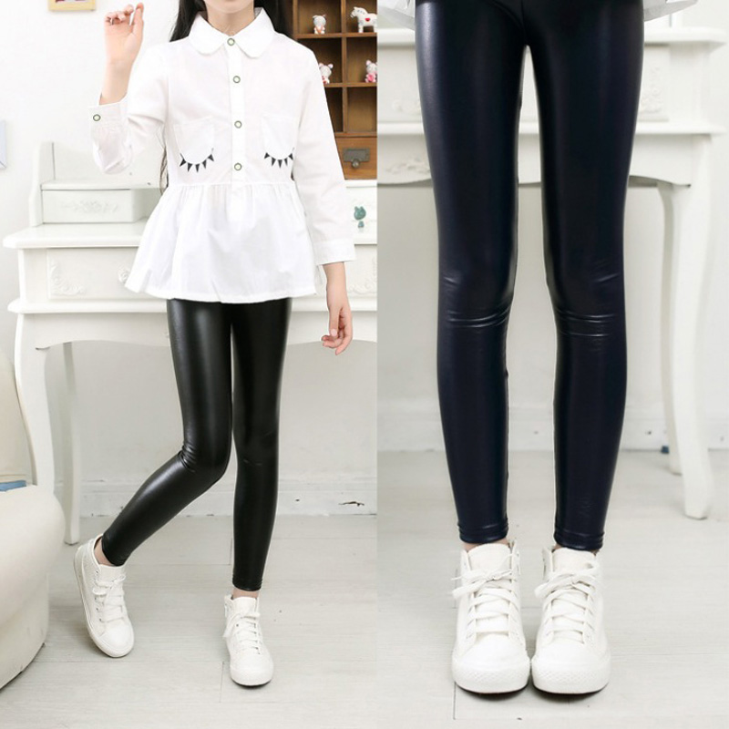 Grils leggings faux leather high quality slim children leggings Baby kids High elasticity skinny pants leggings 1