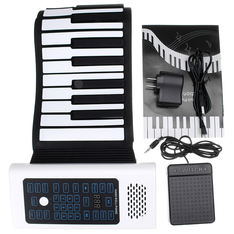 Zebra  BR-A-88 Keys Rechargeable Keyboard Roll Up Piano With Microphone Speaker Beginner Musical Instrument Electric AccessoryZebra  BR-A-88 Keys Rechargeable Keyboard Roll Up Piano With Microphone Speaker Beginner Musical Instrument Electric Accessory