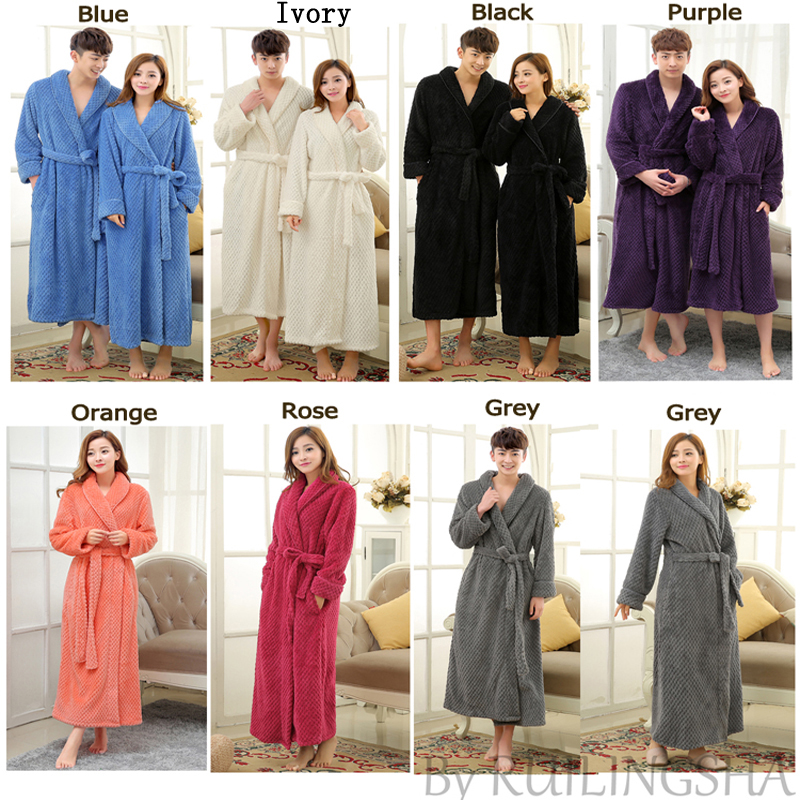 Lovers Extra Long Winter Thick Warm Bath Robe Men Silk Soft Flannel ...